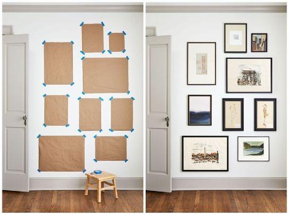 como colgar cuadros con papeles sobre pared